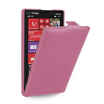 Кожаный чехол книжка вертикальная (нат. кожа) для Nokia Lumia 930 розовая