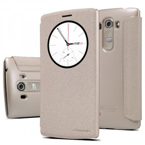 Текстурный чехол смарт флип с фирменным круглым окном вызова на пластиковой нескользящей основе для LG G4 S