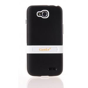 Двухкомпонентный силиконовый чехол с пластиковым бампером-подставкой для LG L90