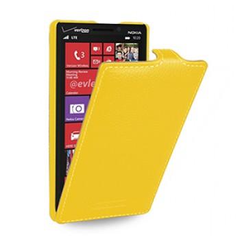 Кожаный чехол книжка вертикальная (нат. кожа) для Nokia Lumia 930 желтая