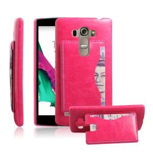 Дизайнерский чехол накладка с отделениями для карт и подставкой для LG G4 S Пурпурный