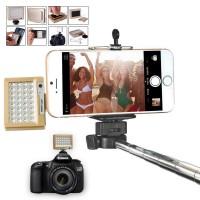 Автономная прямоугольная видео-LED-вспышка 800мАч 1.2 Вт со стандартным креплением 3/8 и липучей подложкой