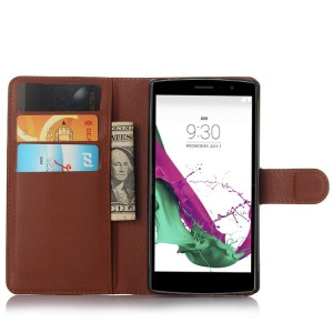 Чехол портмоне подставка на пластиковой основе с магнитной защелкой для LG G4 S Коричневый