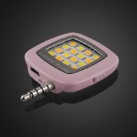 Квадратная LED-вспышка 200мАч 3 Вт с регулятором яркости и подключением через аудиоразъем Розовый