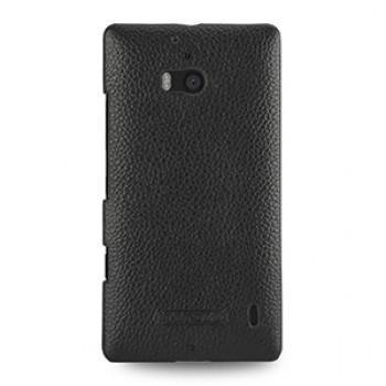 Кожаный чехол накладка (нат. кожа) для Nokia Lumia 930 черная