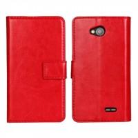 Глянцевый чехол портмоне подставка с защелкой для LG L90 Красный