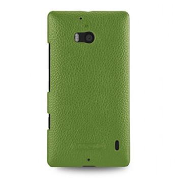 Кожаный чехол накладка (нат. кожа) для Nokia Lumia 930 зеленая