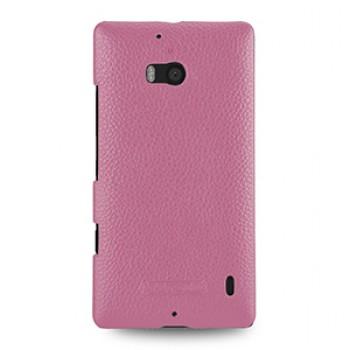 Кожаный чехол накладка (нат. кожа) для Nokia Lumia 930 розовая