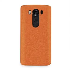 Кожаный чехол накладка (нат. кожа) для LG V10 Оранжевый