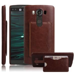 Дизайнерский  чехол накладка с отделениями для карт и подставкой для LG V10 Коричневый