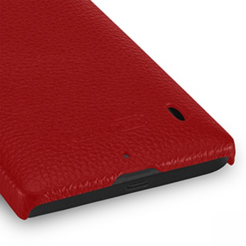 Кожаный чехол накладка (нат. кожа) для Nokia Lumia 930 красная