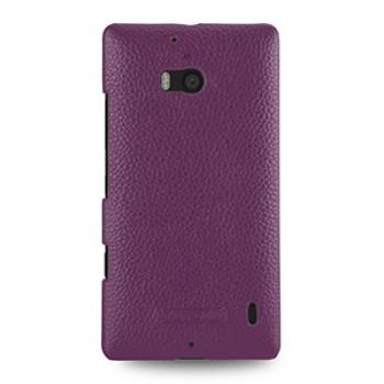Кожаный чехол накладка (нат. кожа) для Nokia Lumia 930 фиолетовая