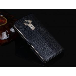 Кожаный чехол портмоне (нат. кожа крокодила) для LG V10 Черный