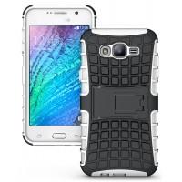 Антиударный двухкомпонентный чехол с поликарбонатной накладкой экстрим защита для Samsung Galaxy J7 Белый