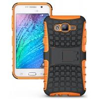 Антиударный двухкомпонентный чехол с поликарбонатной накладкой экстрим защита для Samsung Galaxy J7 Оранжевый
