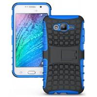 Антиударный двухкомпонентный чехол с поликарбонатной накладкой экстрим защита для Samsung Galaxy J7 Синий