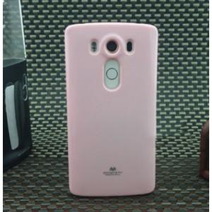 Силиконовый глянцевый непрозрачный чехол для LG V10 Розовый
