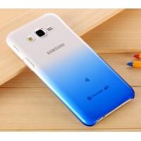 Пластиковый градиентный полупрозрачный чехол для Samsung Galaxy J7 Синий