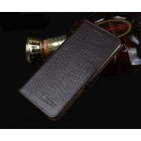 Кожаный чехол портмоне подставка (нат. кожа крокодила) для Meizu Pro 5 Коричневый