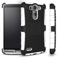 Антиударный гибридный чехол экстрим защита силикон/поликарбонат для LG G3 S Белый