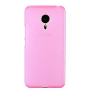Силиконовый матовый полупрозрачный чехол для Meizu Pro 5 Розовый