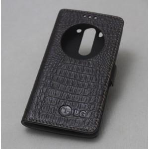 Кожаный чехол флип подставка на пластиковой основе с защёлкой и окном вызова (нат. кожа крокодила) для LG G3 S Коричневый