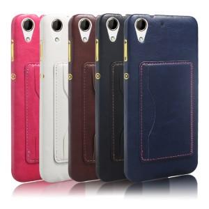 Дизайнерский чехол накладка с отделениями для карт и подставкой для HTC Desire 728