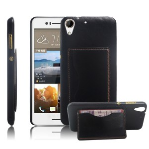 Дизайнерский чехол накладка с отделениями для карт и подставкой для HTC Desire 728 Черный