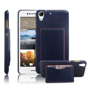 Дизайнерский чехол накладка с отделениями для карт и подставкой для HTC Desire 728 Синий