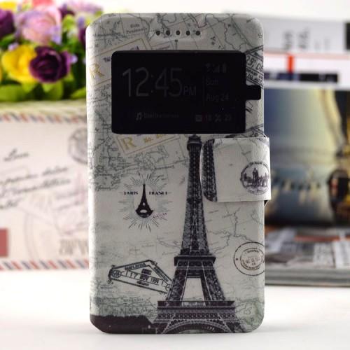 Дизайнерский чехол флип подставка с магнитной застежкой, окном вызова и полноповерхностным принтом для HTC Desire 728