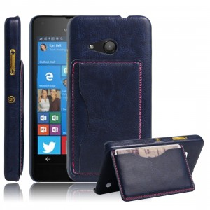 Дизайнерскийчехол накладка с отделениями для карты и подставкой для Microsoft Lumia 550 Синий