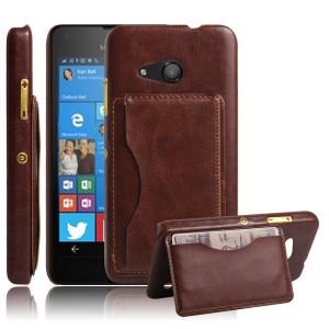 Дизайнерскийчехол накладка с отделениями для карты и подставкой для Microsoft Lumia 550 Коричневый