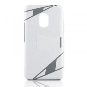 Поликарбонатный дизайнерский чехол с ножкой подставкой для Meizu Pro 5 Белый