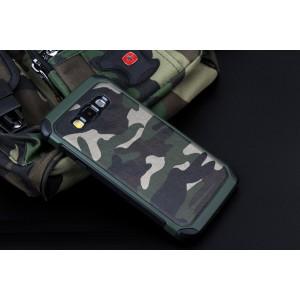 Двухкомпонентный силиконовый чехол с поликарбонатными вставками текстура Камуфляж для Samsung Galaxy J7