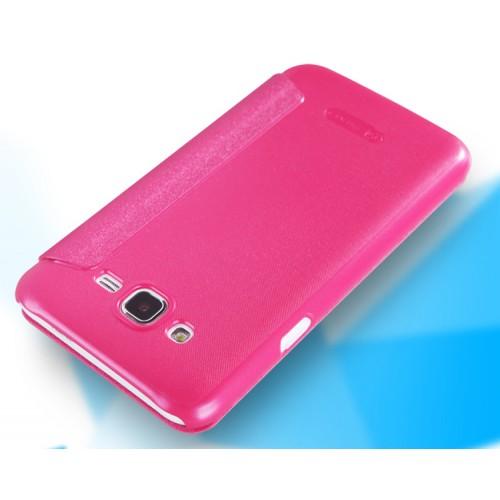Чехол флип на пластиковой нескользящей премиум основе с окном вызова для Samsung Galaxy J7