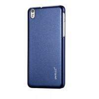 Пластиковый матовый непрозрачный металлик чехол для HTC Desire 816 Синий