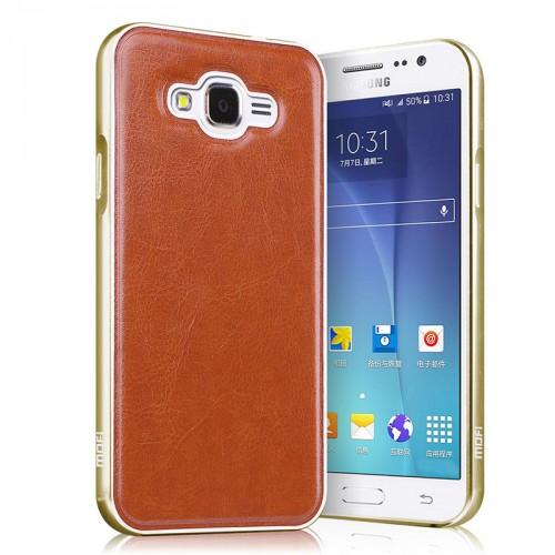 Двухкомпонентный чехол с металлическим бампером и поликарбонатной накладкой с текстурным покрытием Кожа для Samsung Galaxy J7