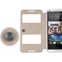 Текстурный чехол флип подставка на пластиковой основе с окном вызова и свайпом на присоске для HTC Desire 816 Бежевый