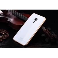 Гибридный двухкомпонентный чехол с металлическим бампером и закаленной стеклянной накладкой для Meizu Pro 5 Белый