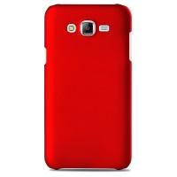 Пластиковый матовый непрозрачный чехол для Samsung Galaxy J7 Красный