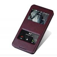 Чехол флип подставка на пластиковой основе с окном вызова и свайпом для HTC Desire 816 Коричневый