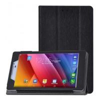 Текстурный чехол флип подставка сегментарный с рамочной защитой экрана для ASUS ZenPad 7.0 Черный