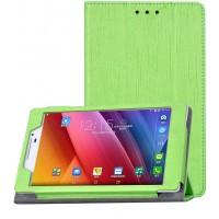 Текстурный чехол флип подставка сегментарный с рамочной защитой экрана для ASUS ZenPad 7.0 Зеленый