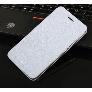 Чехол флип подставка на силиконовой основе текстура Дерево для Meizu Pro 5 Белый