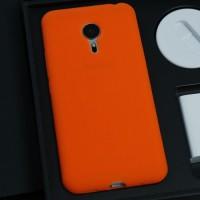 Силиконовый матовый софт-тач премиум чехол для Meizu Pro 5 Оранжевый
