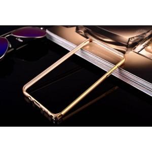 Металлический бампер на пряжке с золотой окантовкой для Samsung Galaxy J7