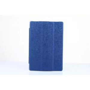 Чехол флип подставка сегментарный на поликарбонатной основе текстура Линии для ASUS ZenPad 10 Синий