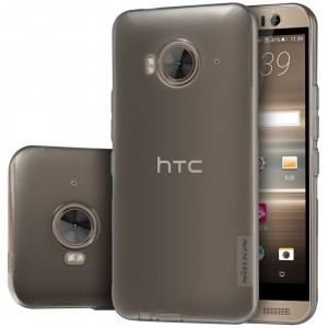 Силиконовый матовый полупрозрачный усиленный чехол с защитными заглушками для HTC One ME Серый