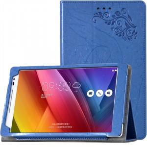 Чехол подставка с рамочной защитой экрана и рельефным эскизом для ASUS ZenPad 8 Голубой