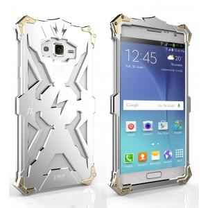 Цельнометаллический противоударный чехол из авиационного алюминия на винтах с мягкой внутренней защитной прослойкой для гаджета с прямым доступом к разъемам для Samsung Galaxy J7